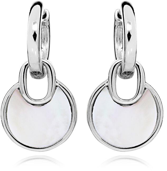 JVD Elegantné strieborné náušnice kruhy s perleťovými prívesky SVLE0347SH8PL00