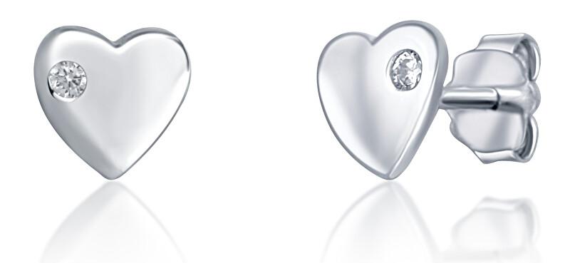 JVD Minimalistické strieborné náušnice Srdce SVLE0745XH2BI00