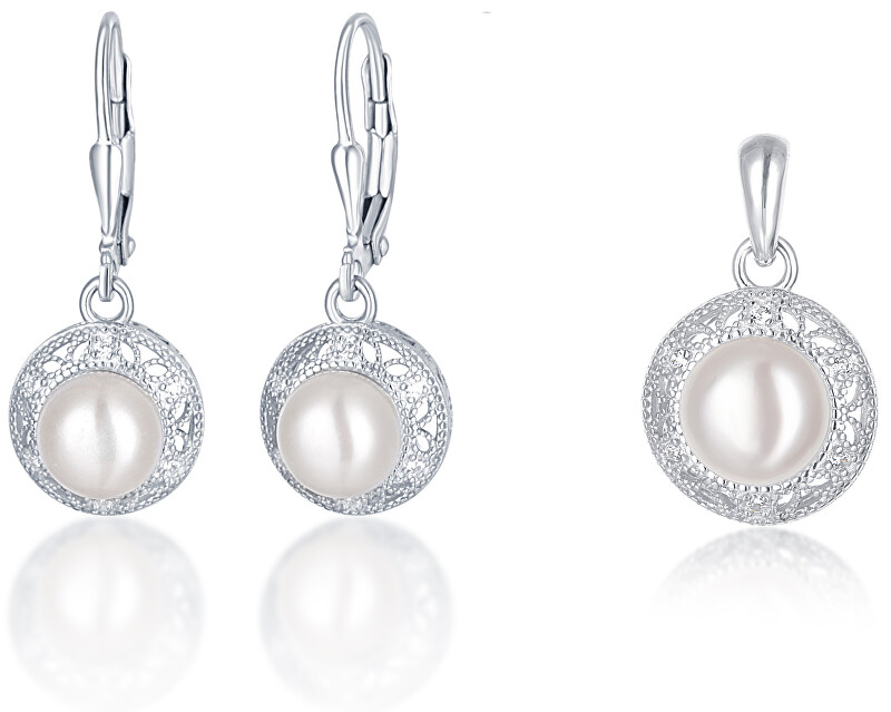 JVD Stříbrná sada šperků s perlami SVLS0037SH2P100 (přívěsek, náušnice)