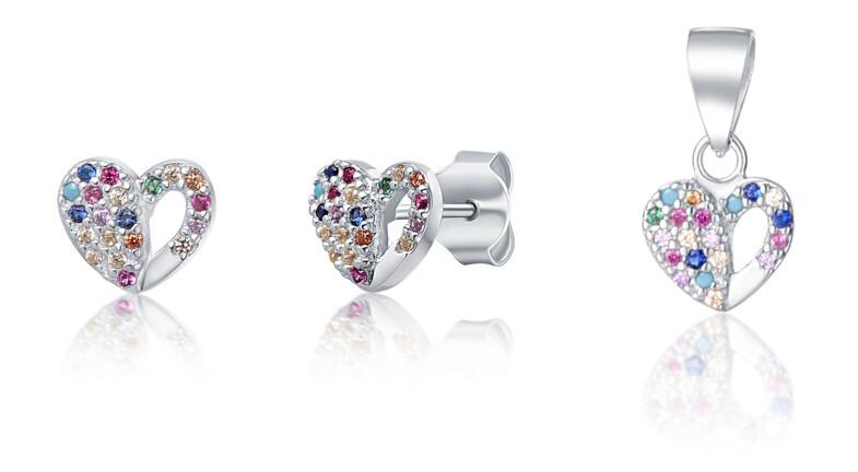 JVD Stříbrná sada šperků se srdíčky SVLS0043XF6BA00 (přívěsek, náušnice)