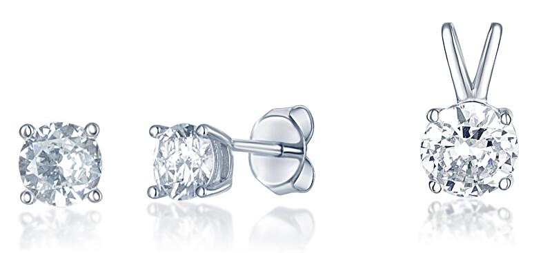 JVD Stříbrná sada šperků se zirkony SVLS0029SH2BI00 (přívěsek, náušnice)
