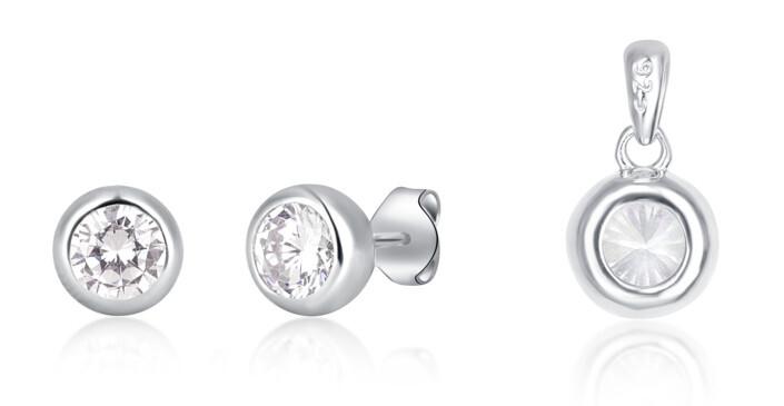 JVD Stříbrná sada šperků se zirkony SVLS0030SH2BI00 (přívěsek, náušnice)
