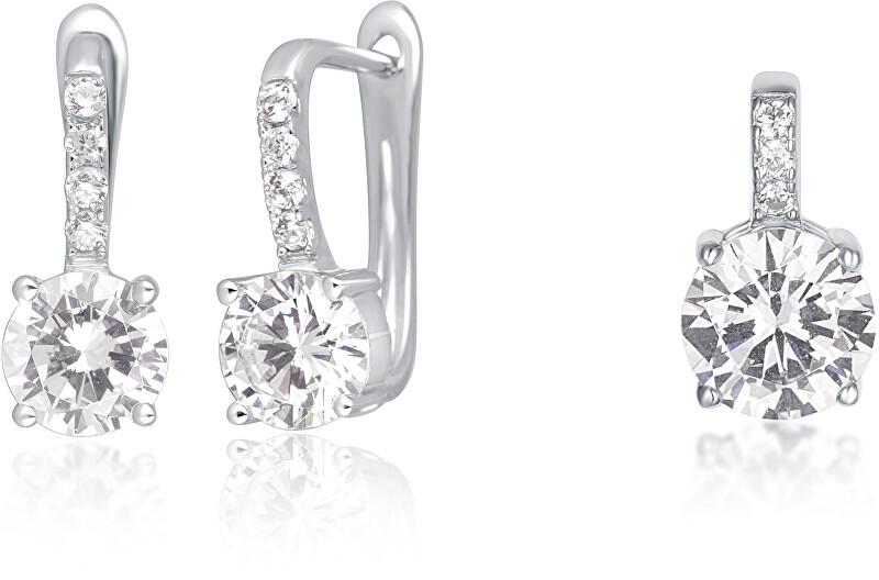 JVD Stříbrná sada šperků se zirkony (náušnice, přívěsek) SVLS0036SH2BI00