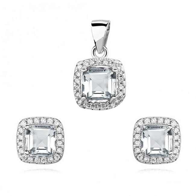 JVD Stříbrná sada šperků se zirkony SVLS0038SH2BI00 (náušnice, přívěsek)