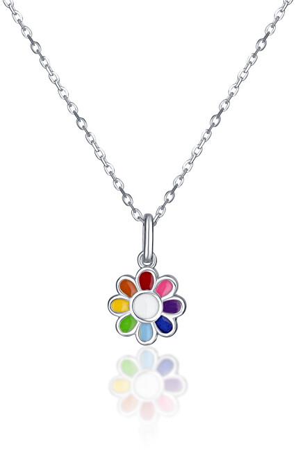 JVD Strieborný náhrdelník s kvetinou SVLN0391SH2BA38