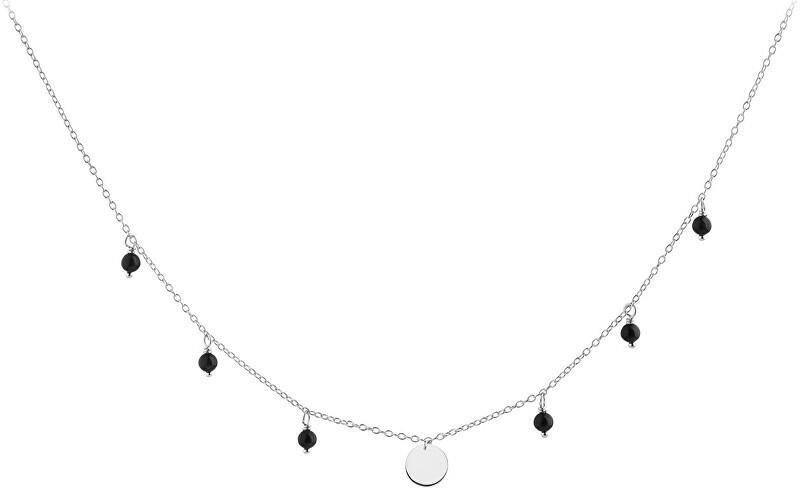 JVD Strieborný náhrdelník s Onyx SVLN0180SH2ON45