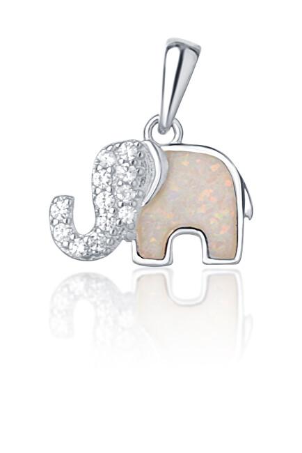 JVD Strieborný prívesok slon s bielym opál SVLP0716XI2BI00
