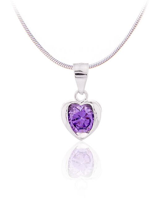 JVD Stříbrný přívěsek ve tvaru srdce s fialovým zirkonem SVLP0014SD5F100