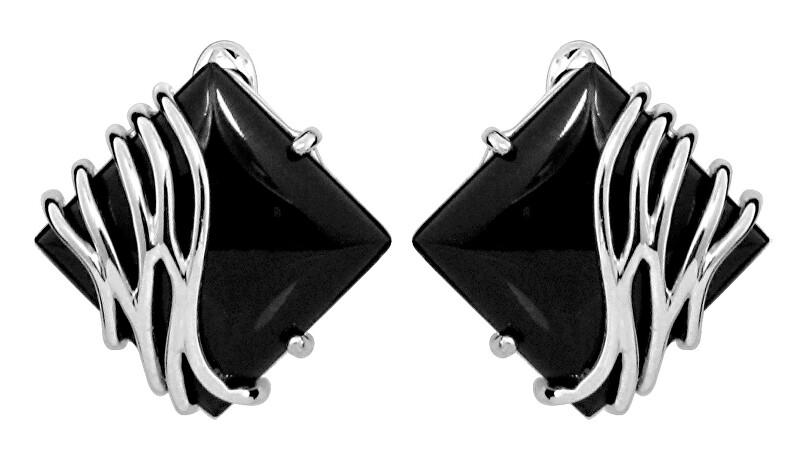 JVD Štýlové strieborné náušnice s čiernym onyxom SVLE0356SH8BL00