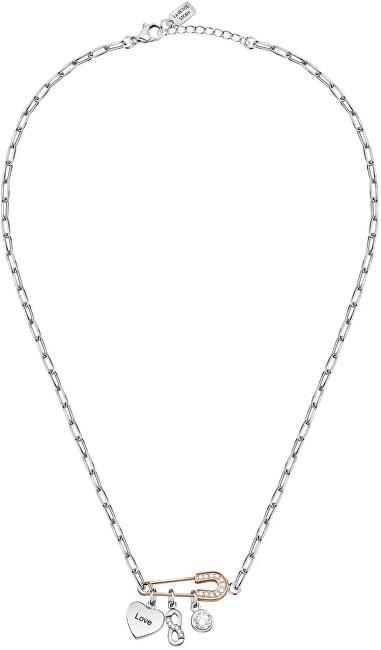 La Petite Story Moderné oceľový náhrdelník s príveskami Love LPS10ASD01