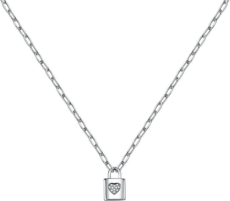 La Petite Story Oceľový náhrdelník s visiacim zámkom Love LPS10ASD02