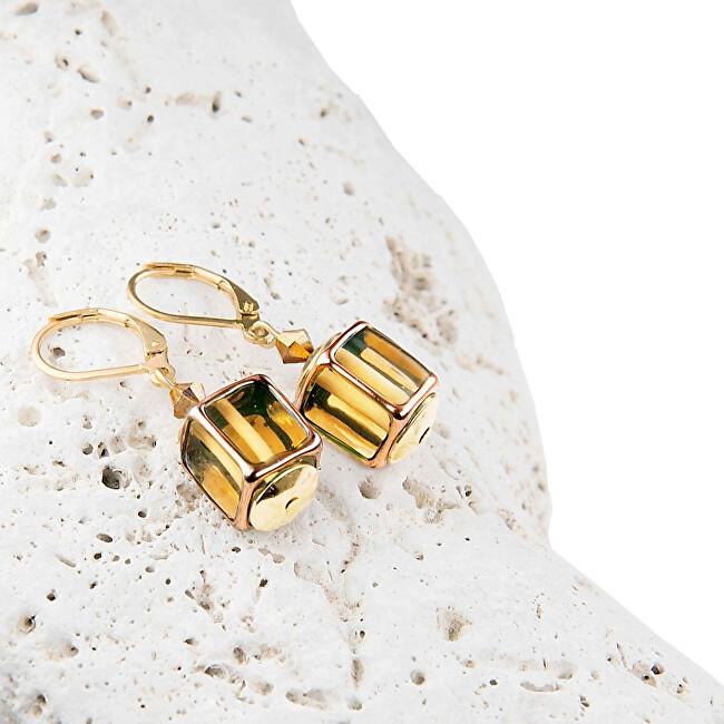 Lampglas Designové dámské náušnice Glass Gold z perel Lampglas ECU4
