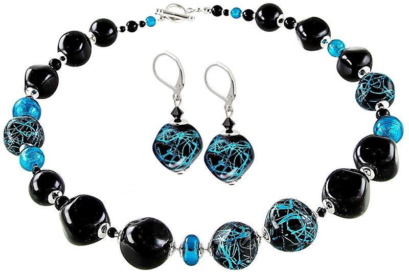 Lampglas Elegantní souprava šperků Turquoise Icon z perel Lampglas s ryzím stříbrem CQ3 (náhrdelník, náušnice)
