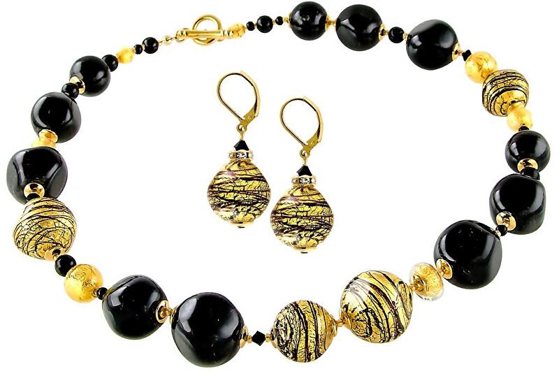 Lampglas Luxusní souprava šperků Golden Tiger z perel Lampglas s 24karátovým zlatem CQ5 (náhrdelník, náušnice)