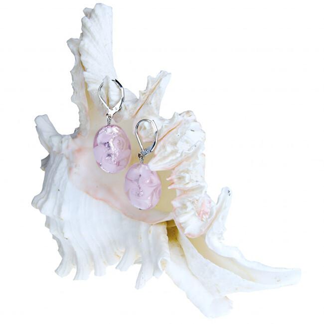 Lampglas Něžné náušnice Pink Lace z perel Lampglas s ryzím stříbrem EP2