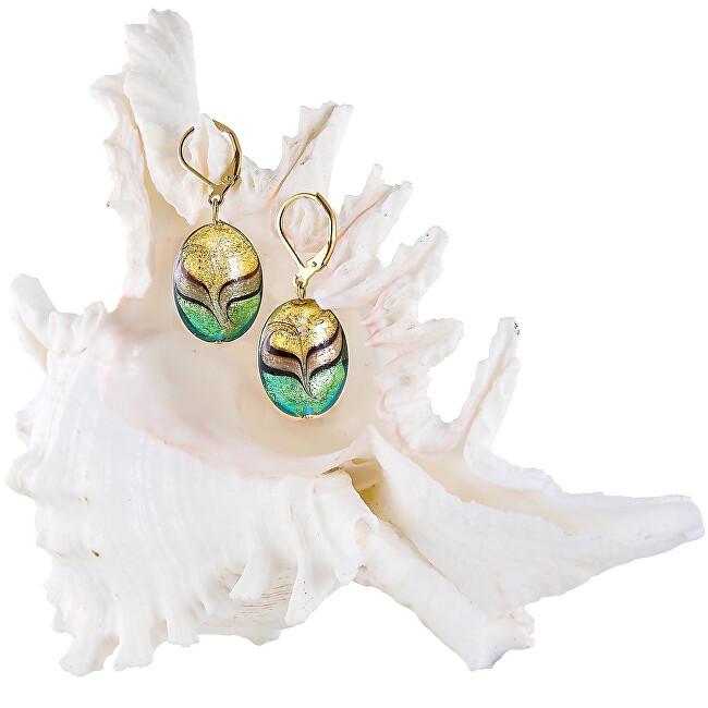 Lampglas Elegantní náušnice Green Sea World z perel Lampglas s 24karátovým zlatem EP26