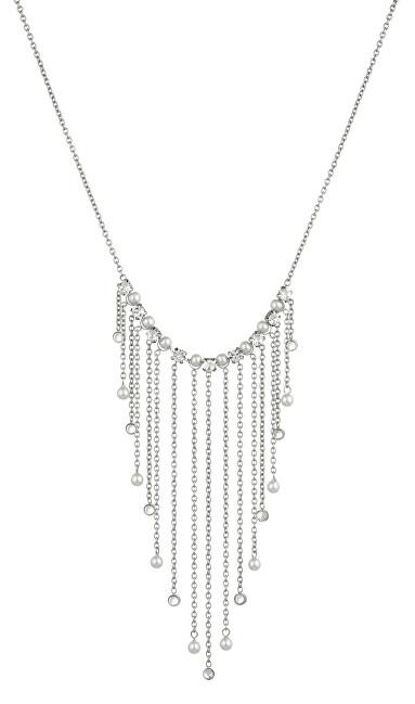 Liu.Jo Oceľový náhrdelník s retiazkami a kryštály LJ1476
