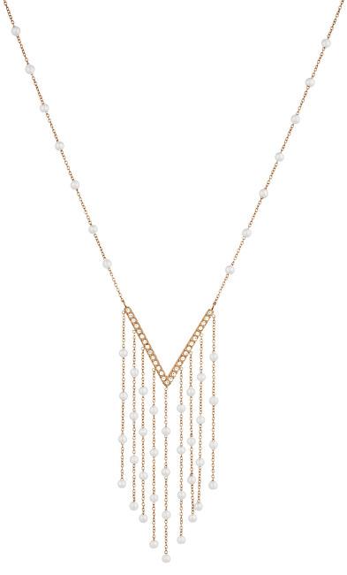 Liu.Jo Ružovo pozlátený oceľový náhrdelník s perličkami a kryštály LJ1479