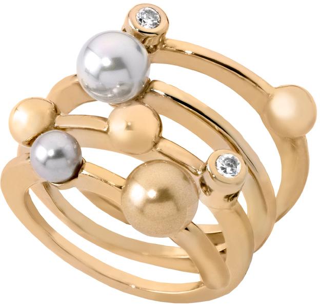 Majorica Spirálový pozlacený prsten s perlami 10554.34.1.911.010.1 51 mm