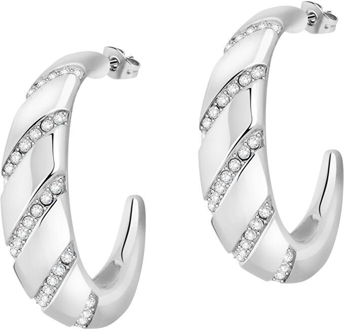 Morellato Luxusné oceľové náušnice kruhy s kryštálmi Cerchi SAKM68