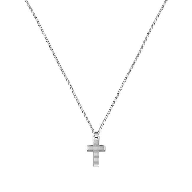 Morellato Pánsky oceľový náhrdelník s krížikom Motown SALS45