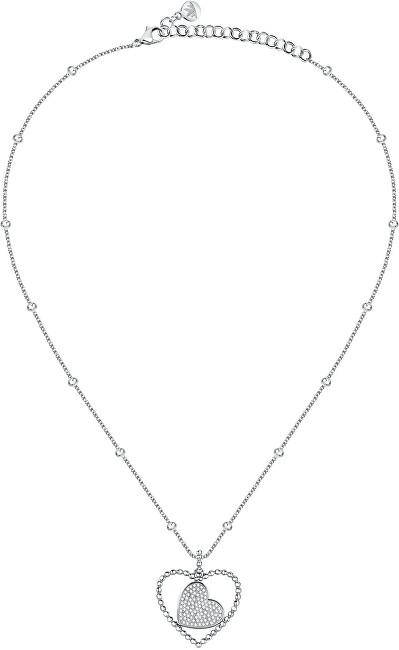 Morellato Romantický oceľový náhrdelník Srdce s kryštálmi Dolcevita SAUA03