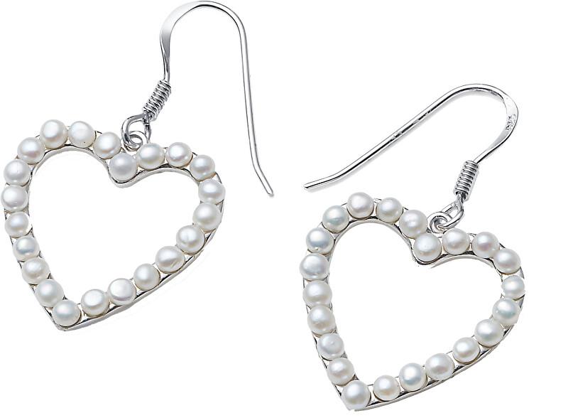 Oliver Weber Romantické stříbrné náušnice Srdce z perel Dive Pearl 62106