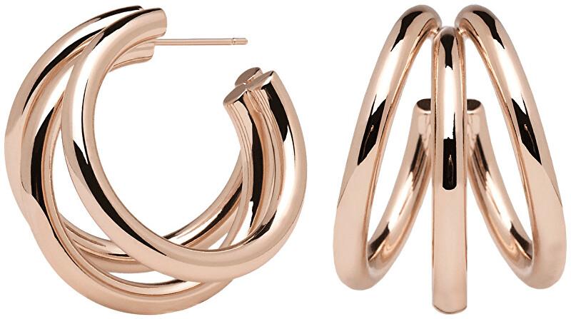 PDPAOLA Luxusné bronzové náušnice kruhy TRUE Rose zlaté AR03-066-U