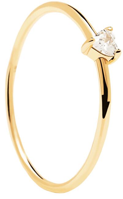PD PAOLA Minimalistický pozlacený prsten se srdíčkem White Heart Gold AN01-223 52 mm