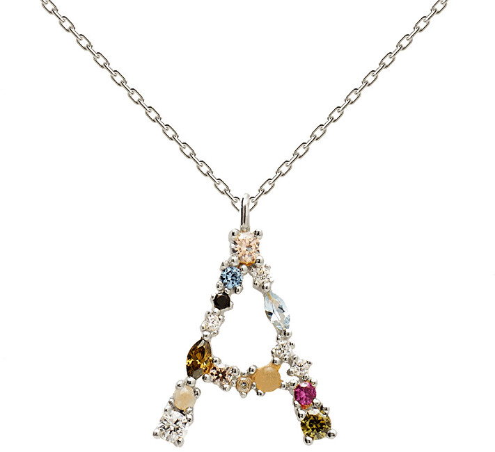 """PDPAOLA Strieborný náhrdelník písmeno """"A"""" sa zirkónmi CO02-096-U (retiazka, prívesok)"""
