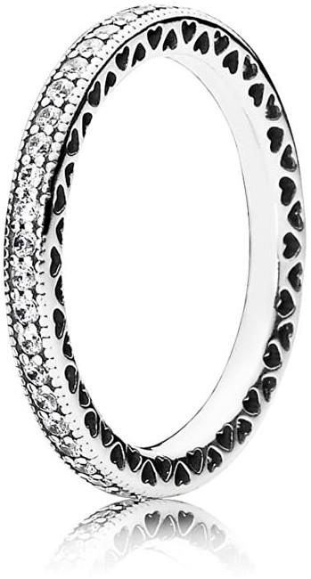 Pandora Zamilovaný prsteň s kryštálmi 190963CZ-56 56 mm