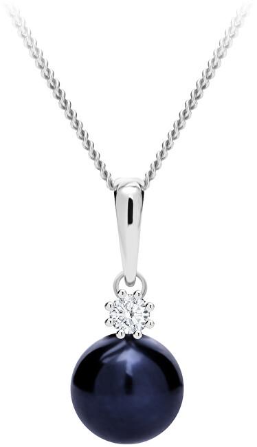 Preciosa Dychberúci strieborný náhrdelník Tonga s pravou riečnou perlou a kubickou zirkónia Preciosa 5311 20 (retiazka, prívesok)