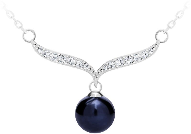 Preciosa Elegantný strieborný náhrdelník s pravou čiernou perlou Paolina 5306 20