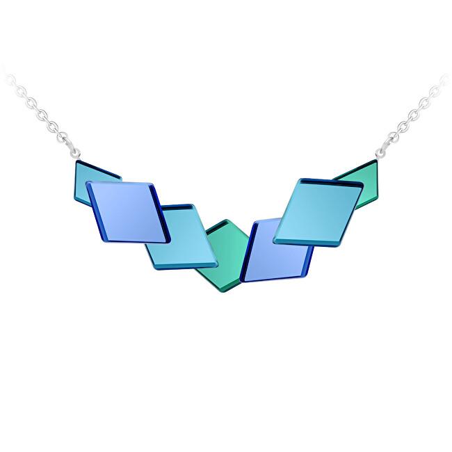 Preciosa Netradiční ocelový náhrdelník Fragmentum s modrým kříšťálem 7374 67