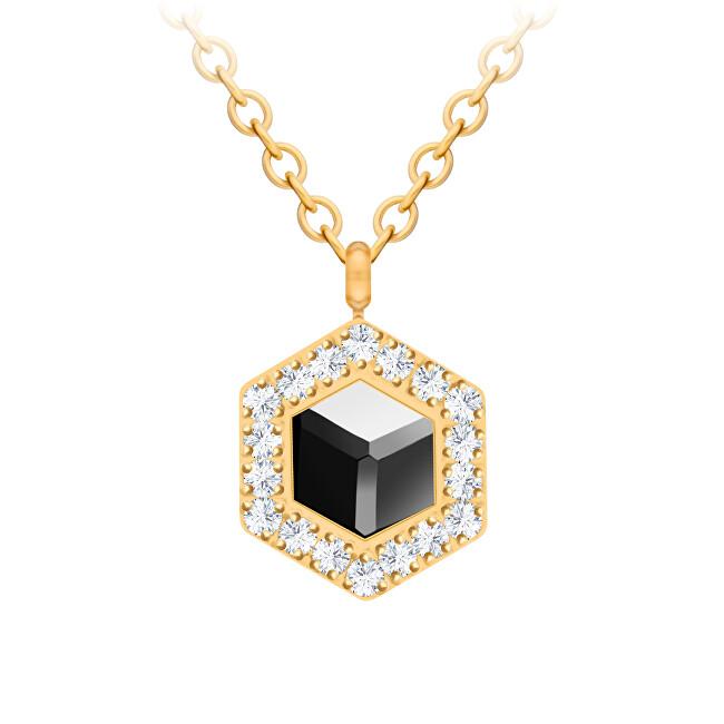Preciosa Pozlacený náhrdelník s křišťálem Honeygon 7384Y48