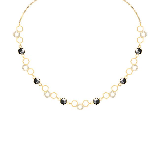 Preciosa Zlatý oceľový náhrdelník s krištáľom Honeygon 7380Y48