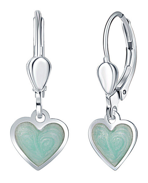 Praqia Dievčenské strieborné náušnice Mint srdce NA6348_RH