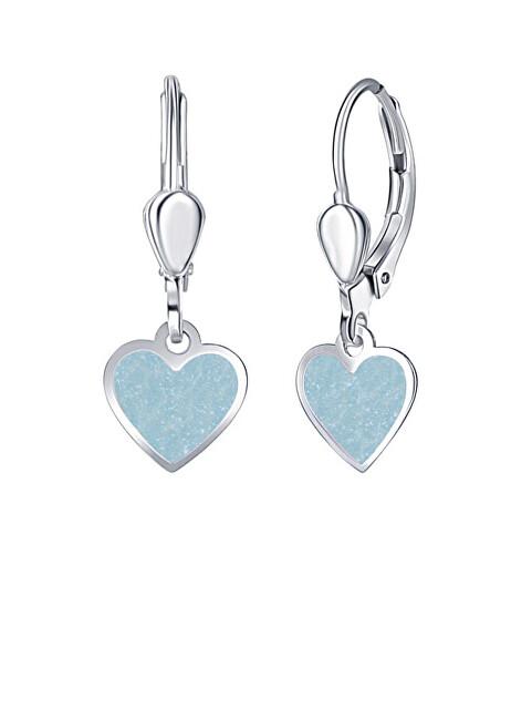 Praqia Dievčenské strieborné náušnice Modré srdce NA6488_RH