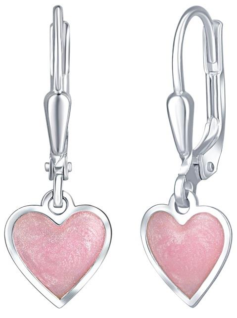 Praqia Dievčenské strieborné náušnice Ružové srdce NA6069_RH
