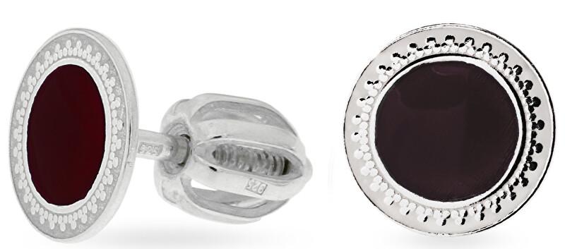 Praqia Drobné strieborné náušnice s čiernym stredom NA5333_RH