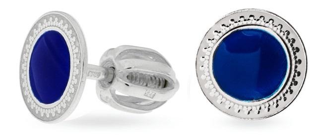 Praqia Drobné strieborné náušnice s modrým stredom NA5109_RH