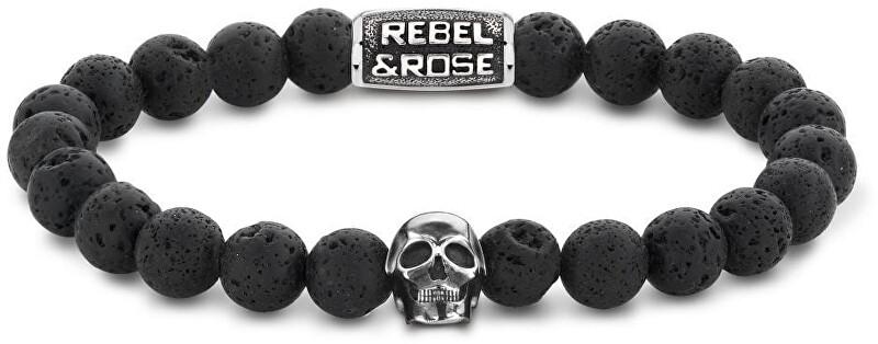 Rebel&Rose Korálkový náramek Skull Black Moon RR-SK001-S 19 cm - L