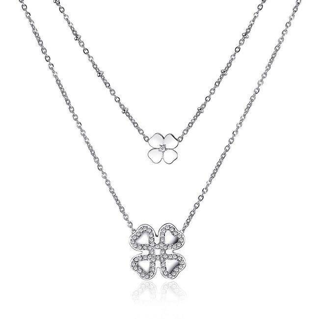 S`Agapõ Dvojitý oceľový náhrdelník sa štvorlístkami ECHO SEH03