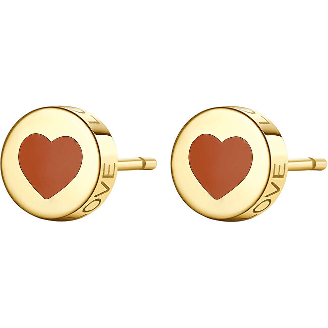 S`Agapõ Moderné oceľové náušnice srdce LOVE SCK54