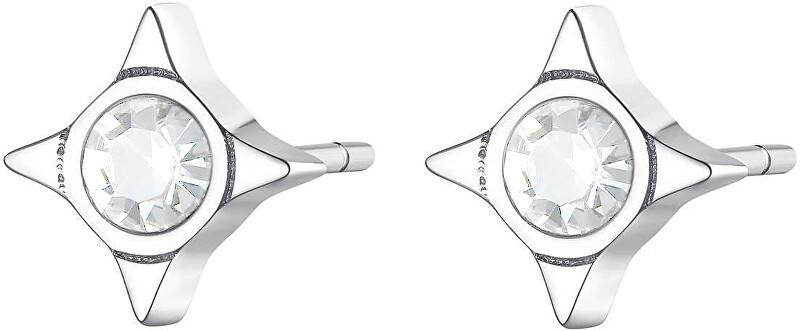 S`Agapõ Oceľové náušnice s čírymi kryštálmi CLICK SCK48
