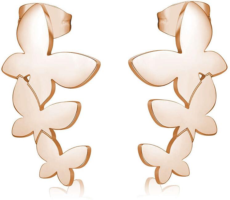 S`Agapõ Oceľové náušnice s tromi motýliky Trio SRI25