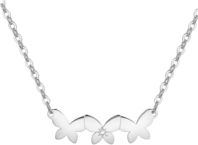 S`Agapõ Oceľový náhrdelník s motýlikmi Trio SRI08