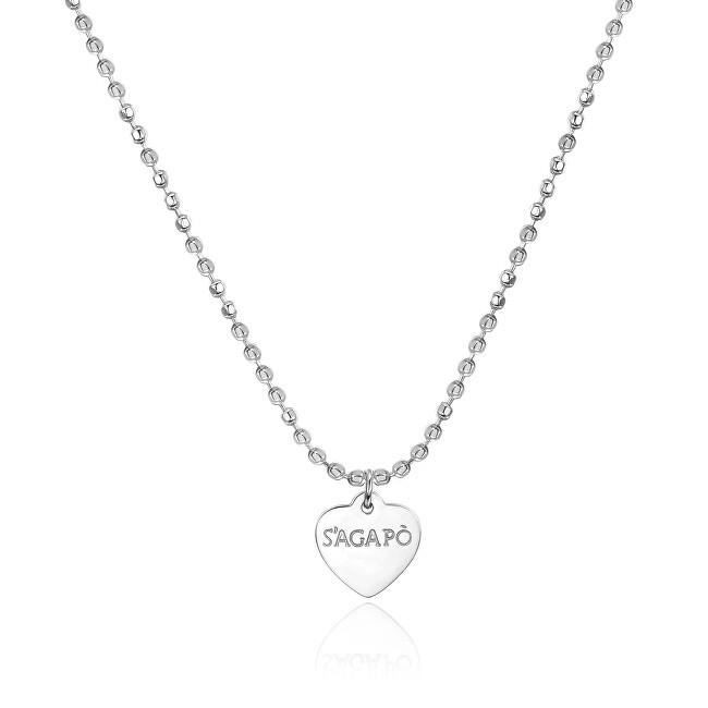 S`Agapõ Oceľový náhrdelník srdce Happy SHAC42