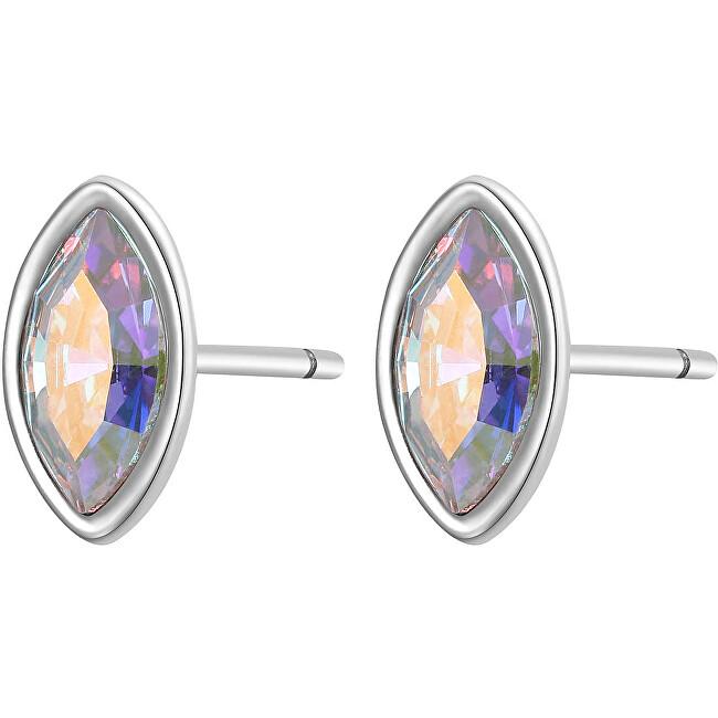S`Agapõ Pozlátené oceľové náušnice s dúhovým kryštálom CLICK SCK34
