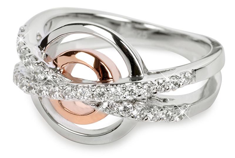 Silver Cat Strieborný prsteň s kryštálmi SC025 54 mm